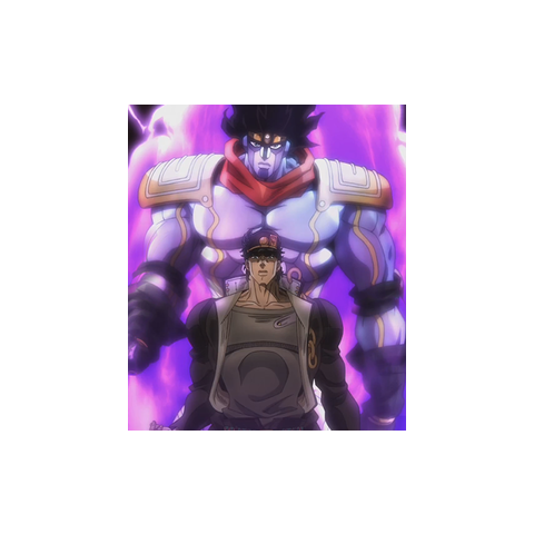 A screenshot of the 2014 anime adaptation of <i>Stardust Crusaders</i> showing Jotaro Kujo's Stand, Star Platinum.