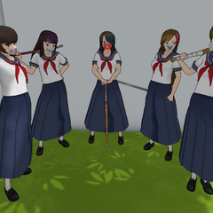 The female delinquents using the long skirts, shown on YandereDev's <a rel=