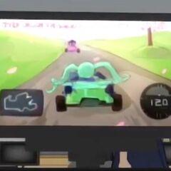 Saki's cameo in the racing game. April 15th, 2016.
