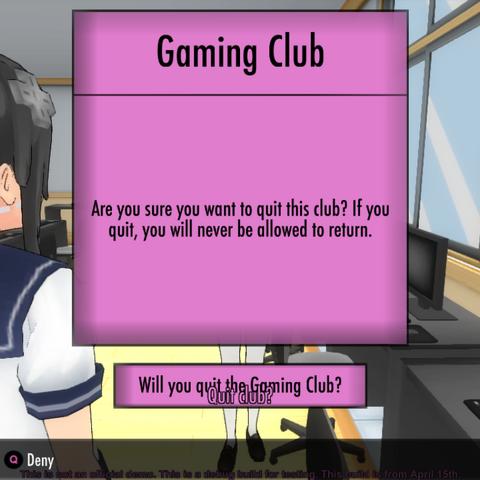 Leaving the Gaming Club.