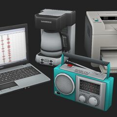 A Saikou laptop, radio, and printer, shown in the May Preview #16.