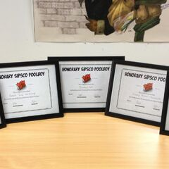 The SipsCo. Pool Boy certificates that were sent to the five biggest donators from Sips and Sjin's livestream.