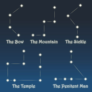 Star constellation of selected deities, shown in LF Episode 19