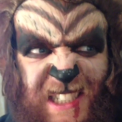 Tom dressed as a werewolf.
