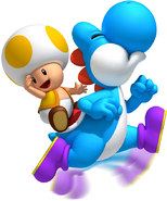 Cyan Yoshi Artwork - New Super Mario Bros. Wii