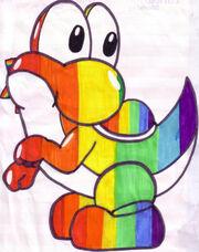 Rainbow Yoshi by sammy saur