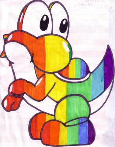 File:Rainbow Yoshi by sammy saur.jpg