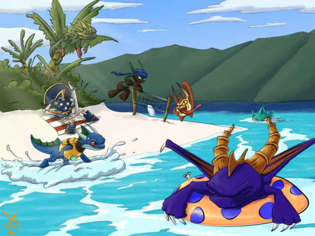 File:Skylanders at the beach by killishandra-d54pwgf.png