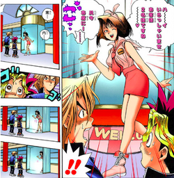 Anzu welcomes Yugi and Jonouchi to BW