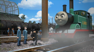 Thomas in his teal paint