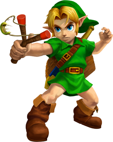 File:Ocarina of Time 3D Artwork Young Link wielding the Fairy Slingshot (Official Artwork).png