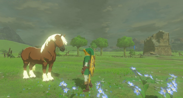 File:Breath of the Wild Horse Epona & Link (Ranch Ruins).png
