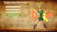 O Link clássico na Galeria de Personagem empunhando a Espada de Madeira 8-bits em Hyrule Warriors