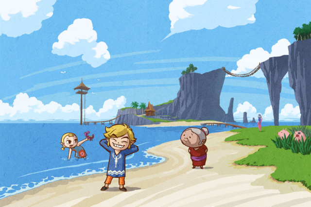 File:The Wind Waker Artwork Link & his Family on Outset Island (Offical Artwork).png