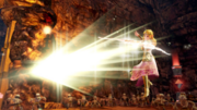 Hyrule Warriors Rapier Zelda using her Rapier's Bow of Light form to fire a Light Arrow