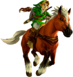 Ocarina of Time 3D Artwork Adult Link riding Epona (Official Artwork)