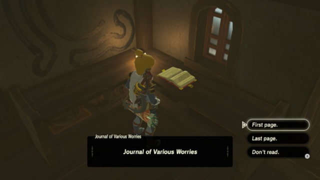 File:Breath of the Wild Diary (Journals) Journal of Various Worries (Impa's House - Kakariko Village).png