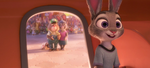 Judy walks into train