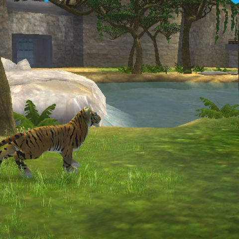 A Bengal Tiger in Zoo Tycoon 2 as it appeared in an early build of the game.